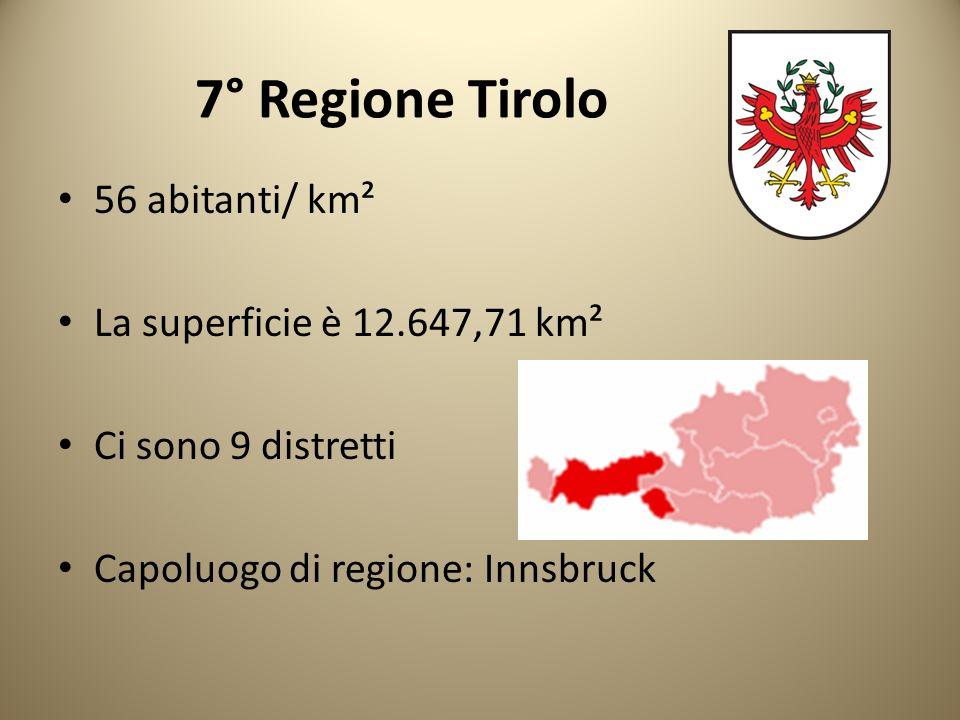 7° Regione Tirolo 56 abitanti/ km² La superficie è 12.647,71 km²