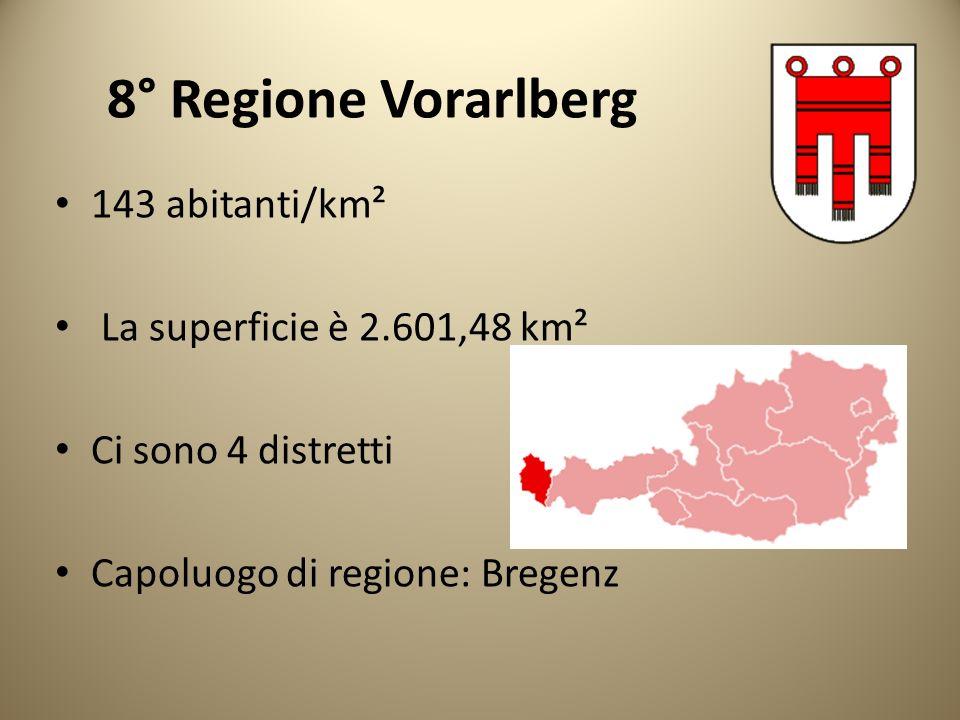 8° Regione Vorarlberg 143 abitanti/km² La superficie è 2.601,48 km²