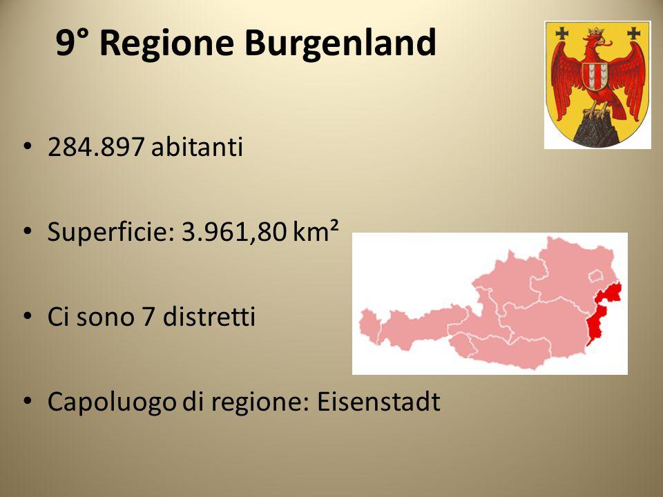 9° Regione Burgenland 284.897 abitanti Superficie: 3.961,80 km²