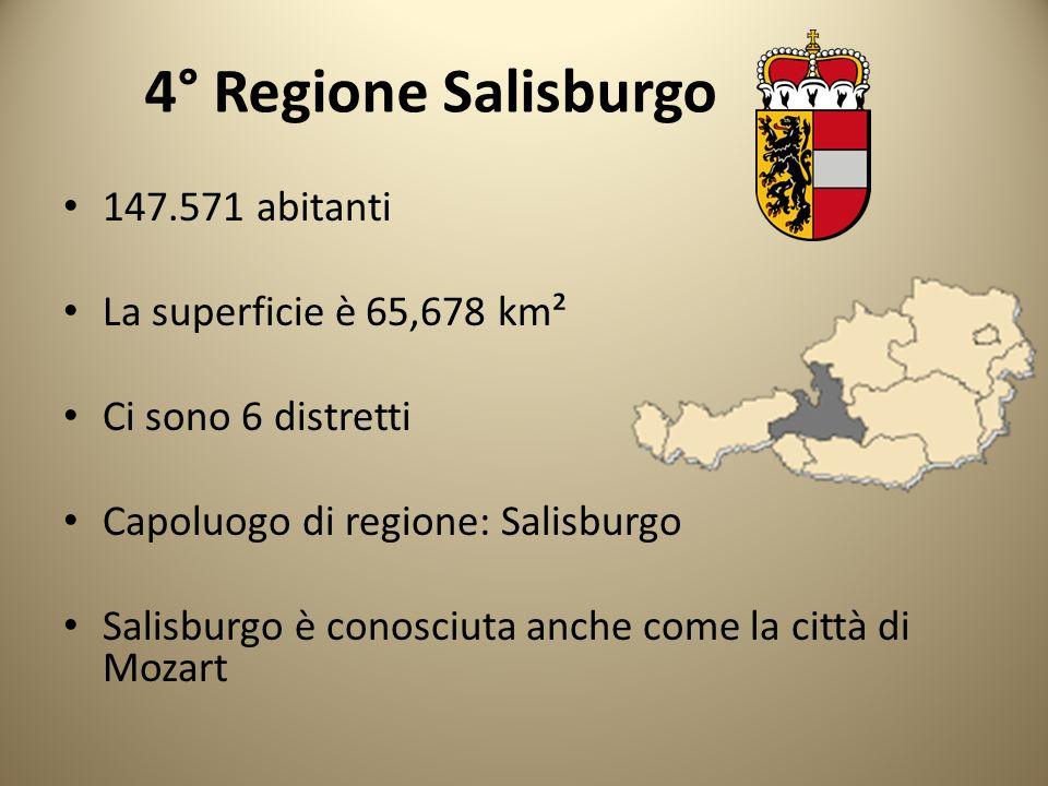 4° Regione Salisburgo 147.571 abitanti La superficie è 65,678 km²