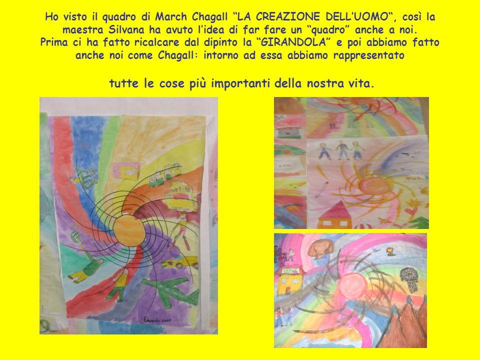 Ho visto il quadro di March Chagall LA CREAZIONE DELL'UOMO , così la maestra Silvana ha avuto l'idea di far fare un quadro anche a noi.