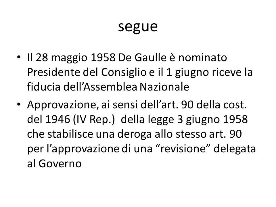 segue Il 28 maggio 1958 De Gaulle è nominato Presidente del Consiglio e il 1 giugno riceve la fiducia dell'Assemblea Nazionale.