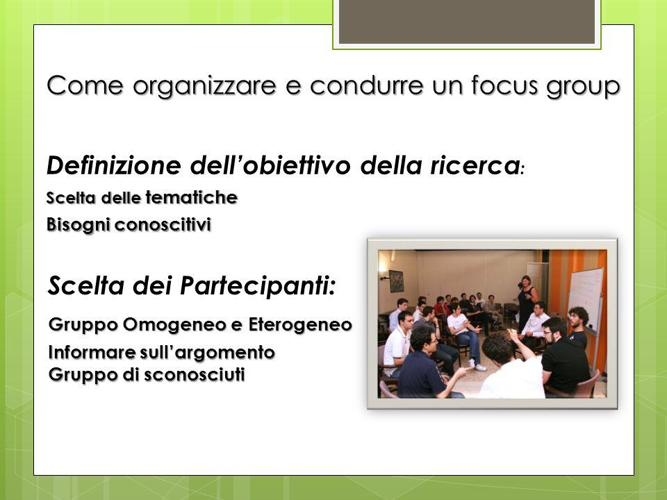 Come organizzare e condurre un focus group