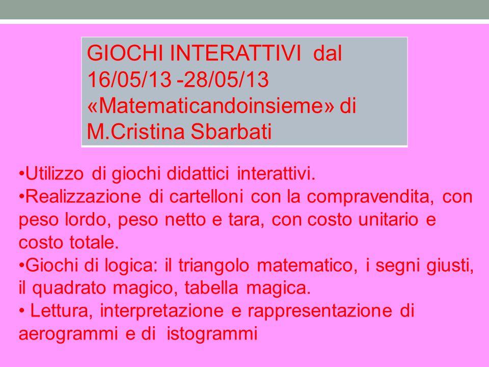 GIOCHI INTERATTIVI dal 16/05/13 -28/05/13
