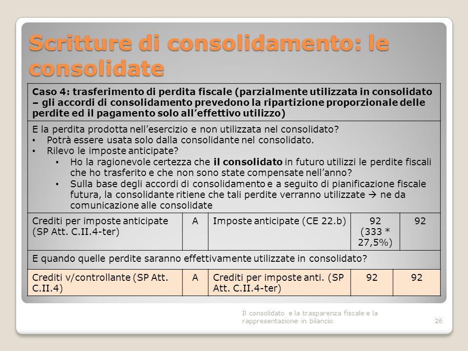 Scritture di consolidamento: le consolidate