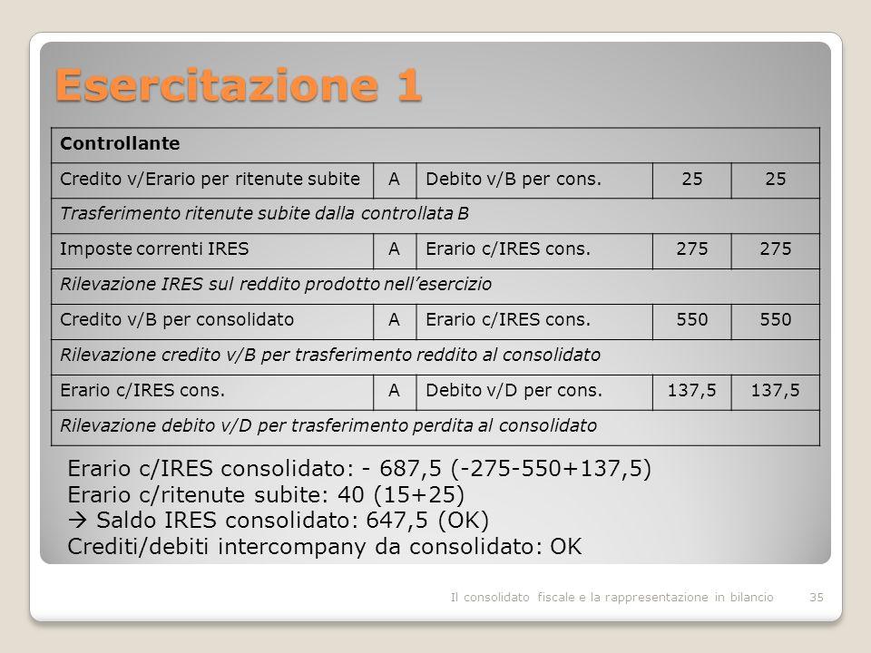 Esercitazione 1 Erario c/IRES consolidato: - 687,5 (-275-550+137,5)