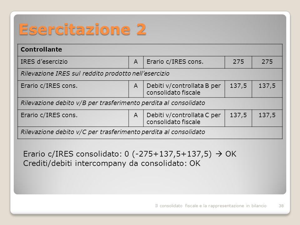 Esercitazione 2 Erario c/IRES consolidato: 0 (-275+137,5+137,5)  OK