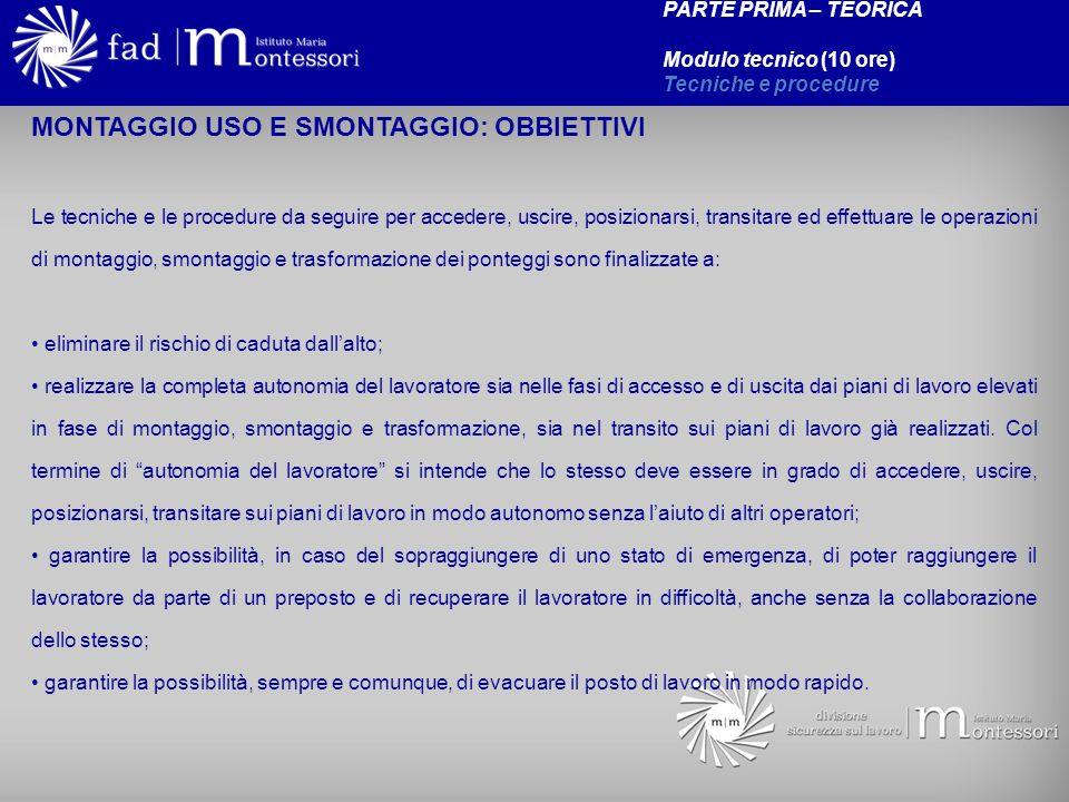 MONTAGGIO USO E SMONTAGGIO: OBBIETTIVI