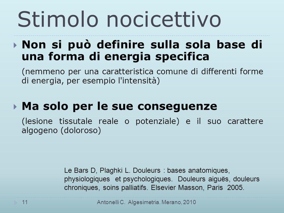 Stimolo nocicettivo Non si può definire sulla sola base di una forma di energia specifica.