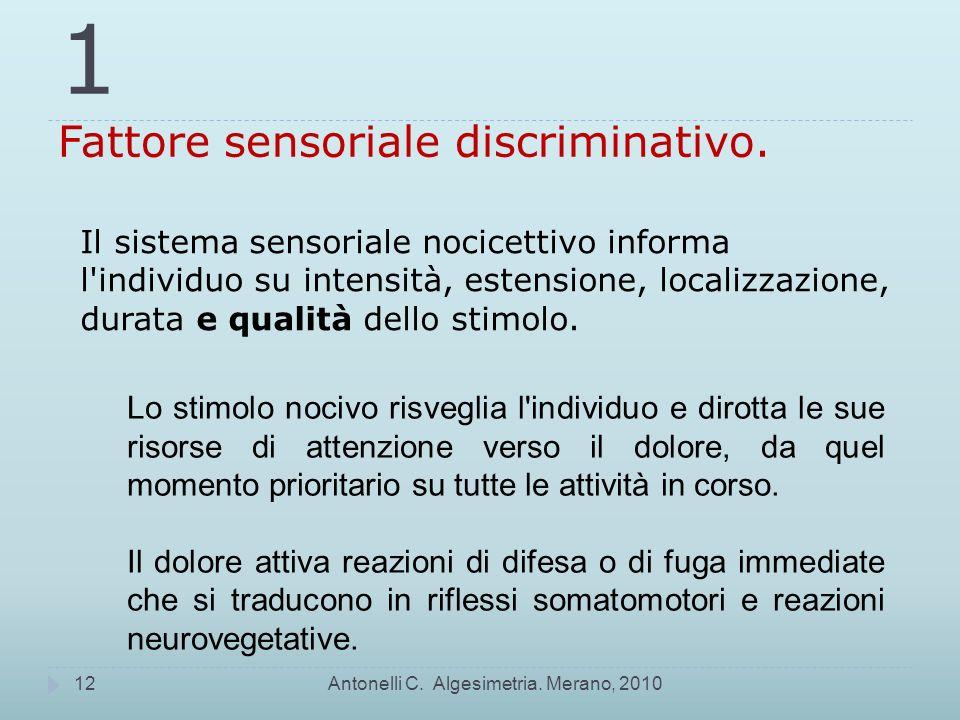 1 Fattore sensoriale discriminativo.
