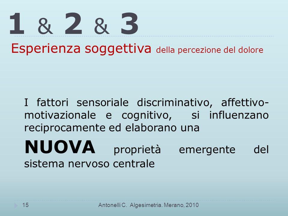 1 & 2 & 3 Esperienza soggettiva della percezione del dolore