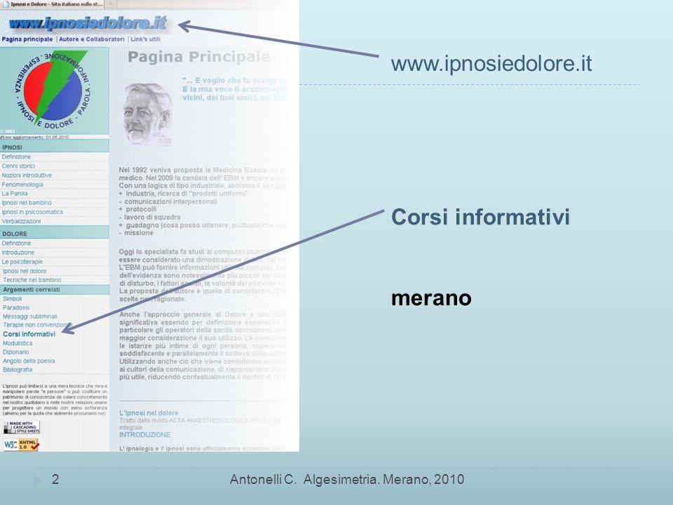 www.ipnosiedolore.it Corsi informativi merano