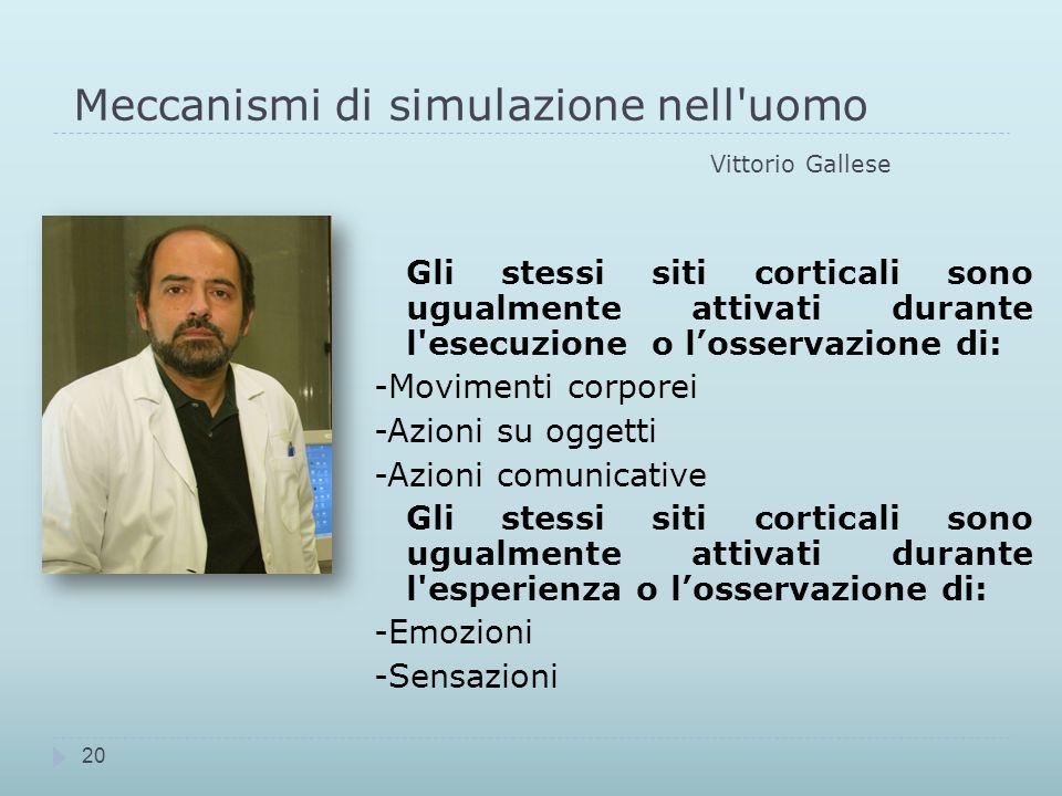 Meccanismi di simulazione nell uomo Vittorio Gallese