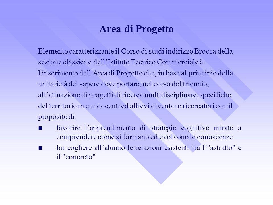 Area di Progetto Elemento caratterizzante il Corso di studi indirizzo Brocca della. sezione classica e dell'Istituto Tecnico Commerciale è.