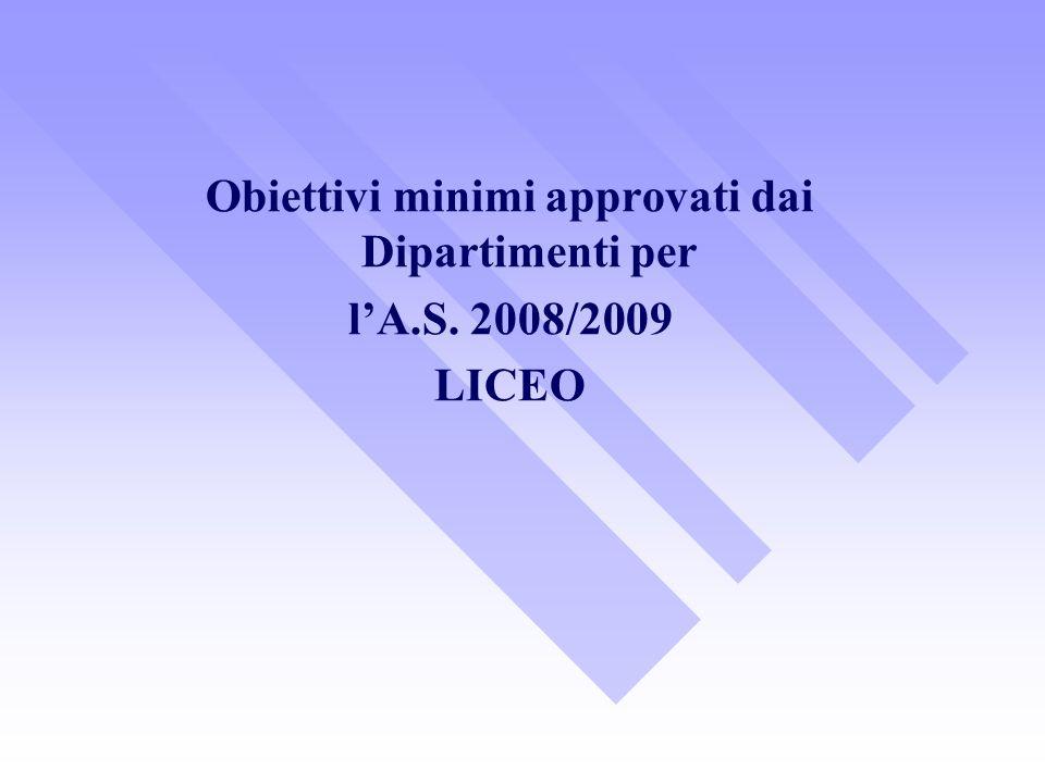 Obiettivi minimi approvati dai Dipartimenti per