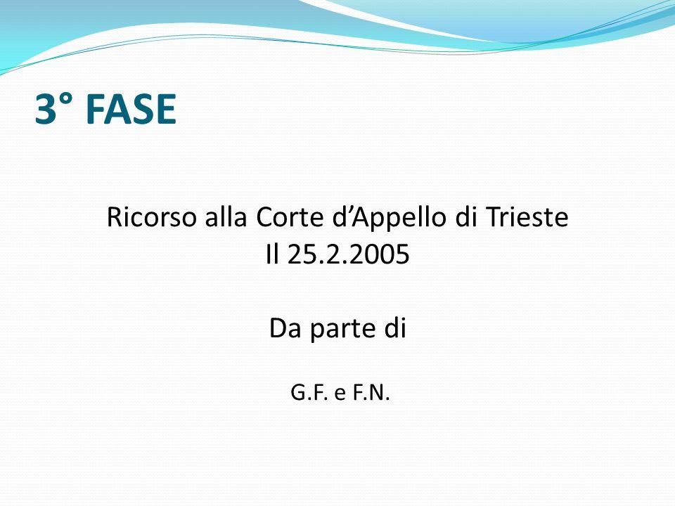 Ricorso alla Corte d'Appello di Trieste