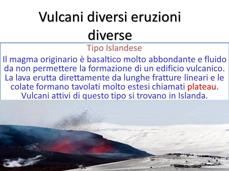 Vulcani diversi eruzioni diverse