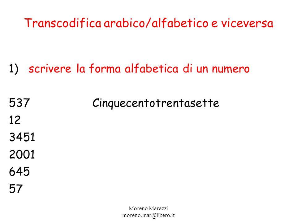 Transcodifica arabico/alfabetico e viceversa