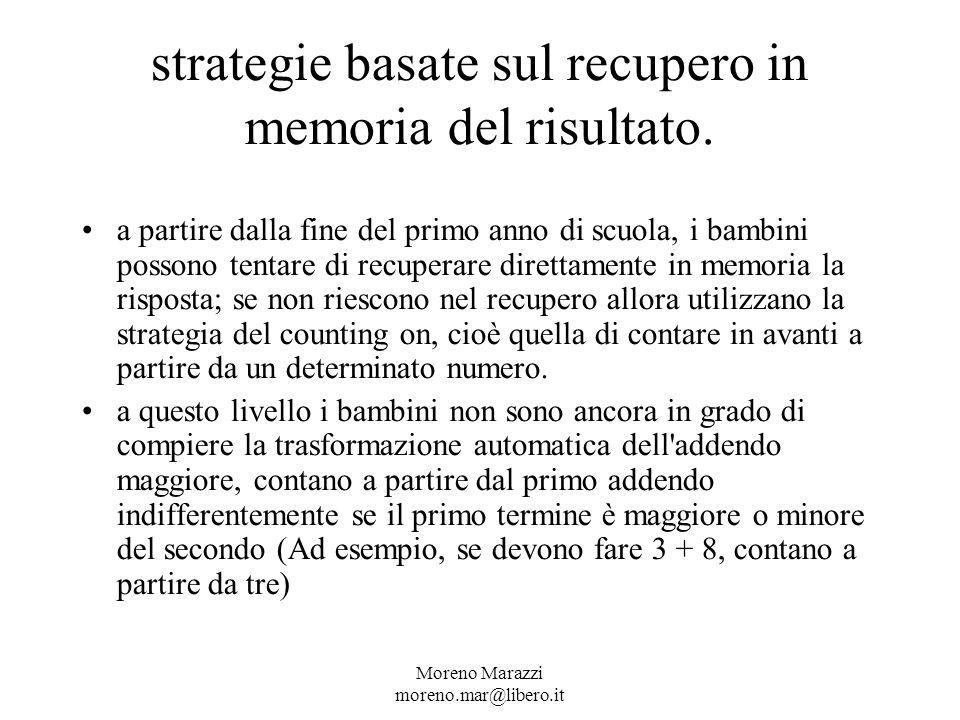 strategie basate sul recupero in memoria del risultato.