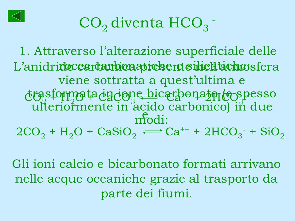 CO2 diventa HCO3 - 1. Attraverso l'alterazione superficiale delle rocce carbonatiche e silicatiche: