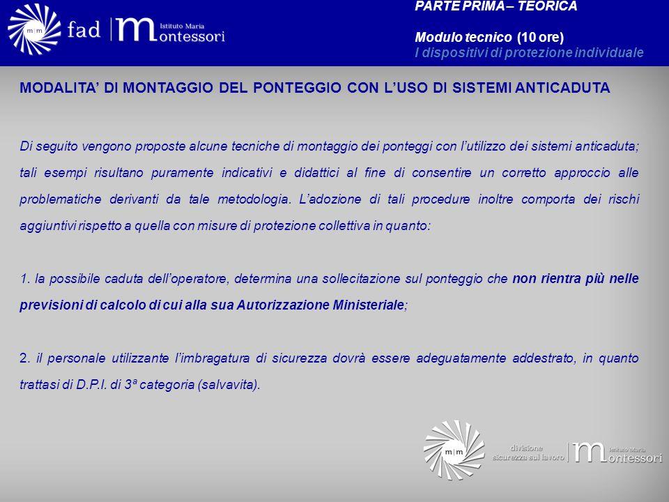 MODALITA' DI MONTAGGIO DEL PONTEGGIO CON L'USO DI SISTEMI ANTICADUTA