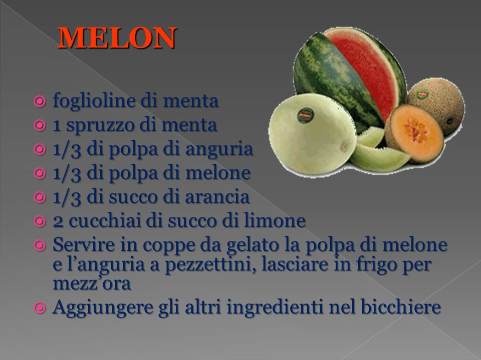 MELON foglioline di menta 1 spruzzo di menta 1/3 di polpa di anguria