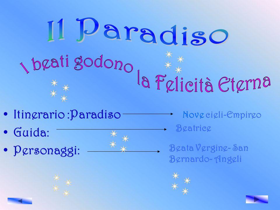 Il Paradiso I beati godono la Felicità Eterna Itinerario :Paradiso