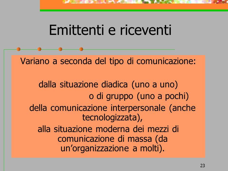 Emittenti e riceventi Variano a seconda del tipo di comunicazione: