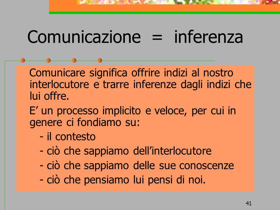 Comunicazione = inferenza