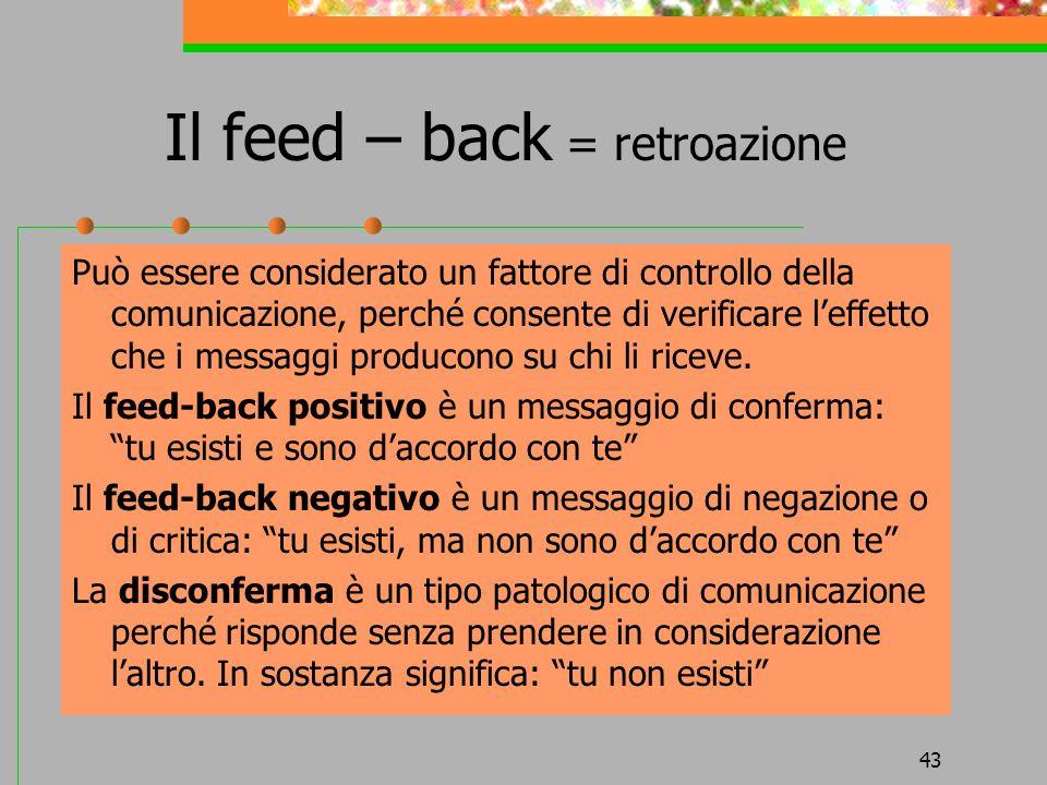 Il feed – back = retroazione