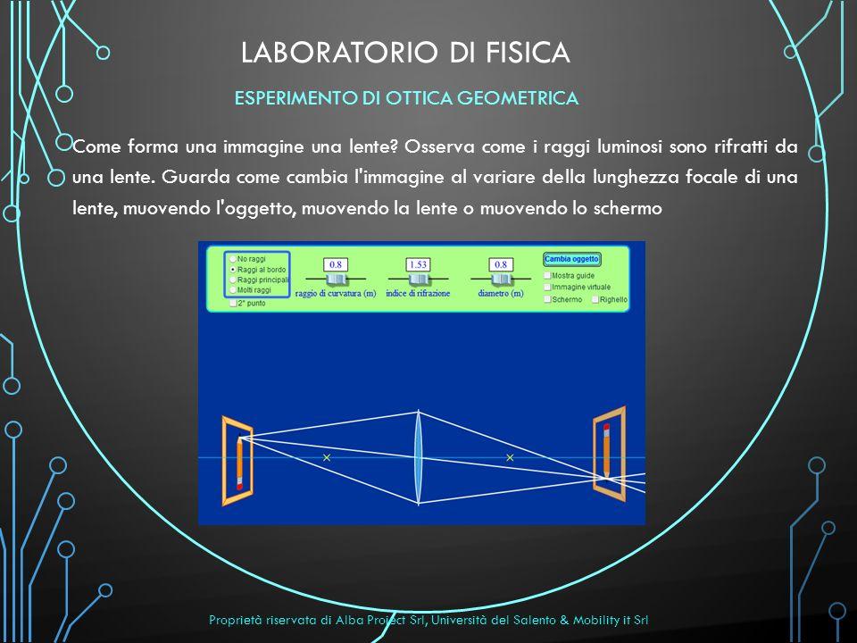 Laboratorio di FISICA ESPERIMENTO DI OTTICA GEOMETRICA