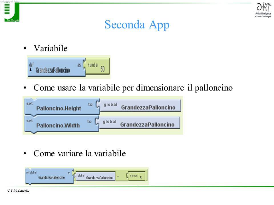 Seconda App Variabile. Come usare la variabile per dimensionare il palloncino.