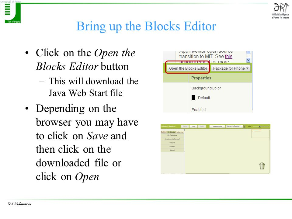 Bring up the Blocks Editor