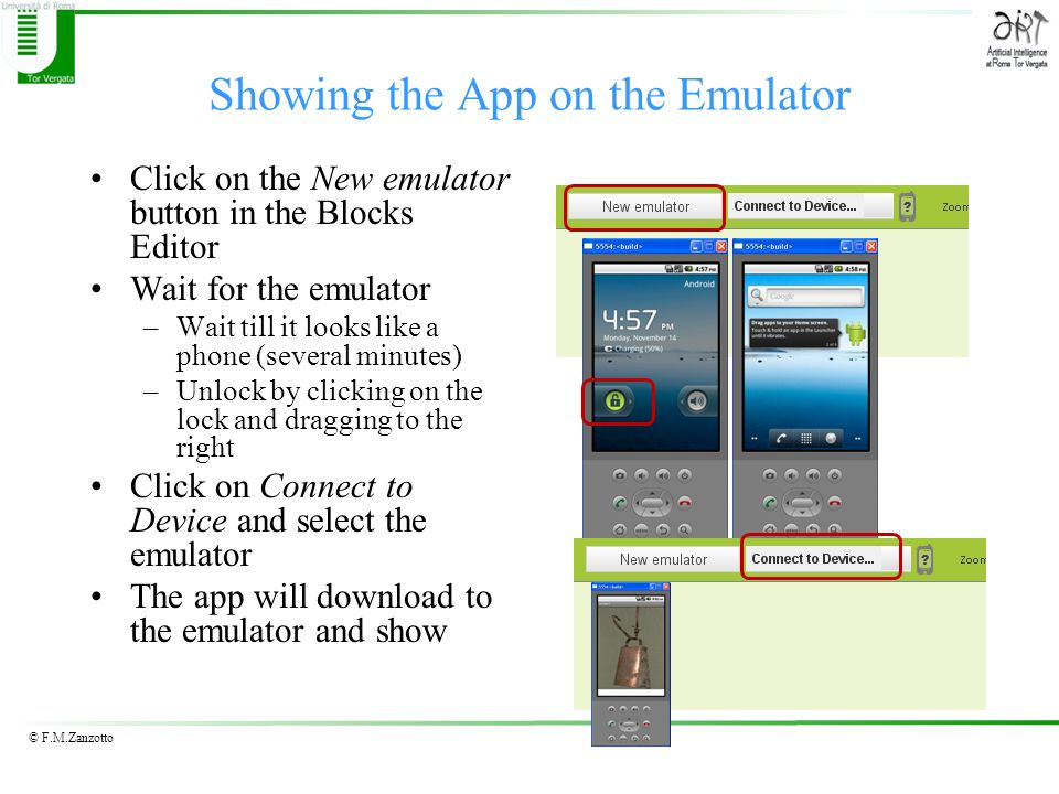 Showing the App on the Emulator