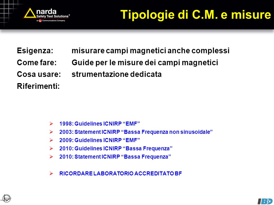 Tipologie di C.M. e misure