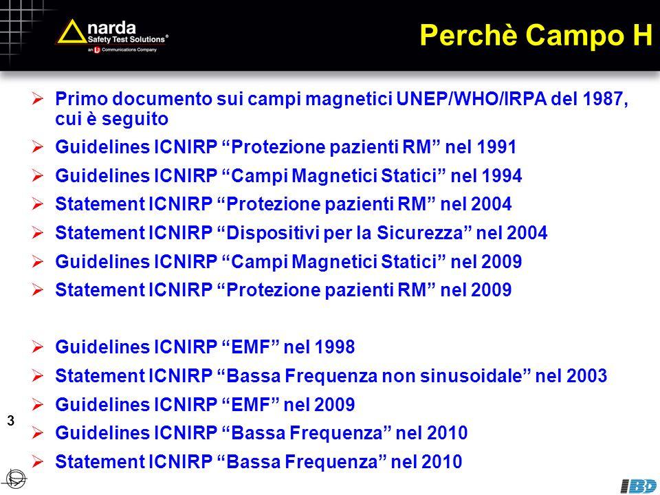 Perchè Campo H Primo documento sui campi magnetici UNEP/WHO/IRPA del 1987, cui è seguito. Guidelines ICNIRP Protezione pazienti RM nel 1991.