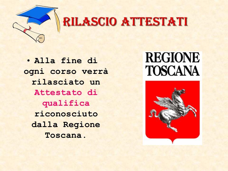 Rilascio Attestati Alla fine di ogni corso verrà rilasciato un Attestato di qualifica riconosciuto dalla Regione Toscana.