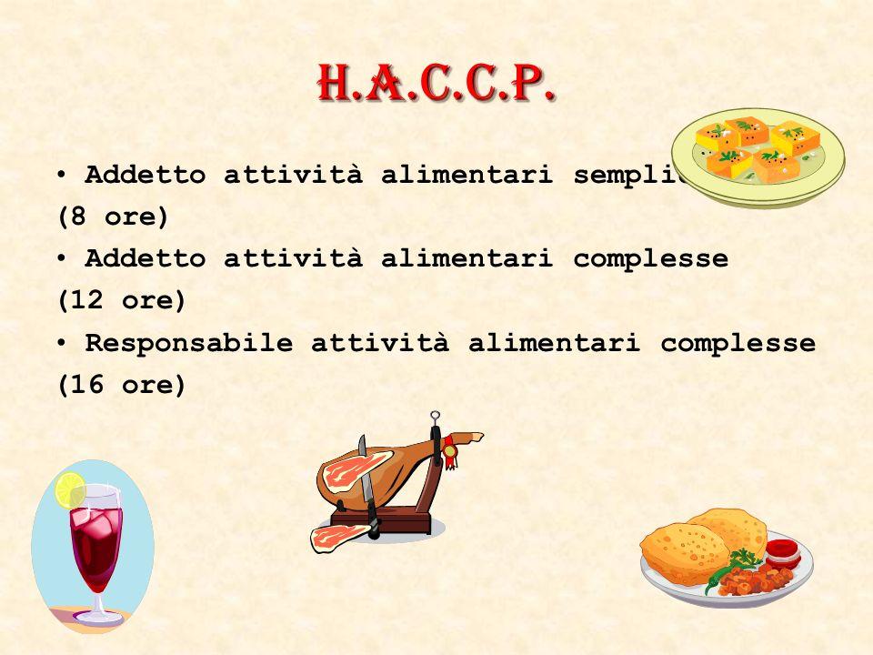 H.A.C.C.P. Addetto attività alimentari semplici (8 ore)