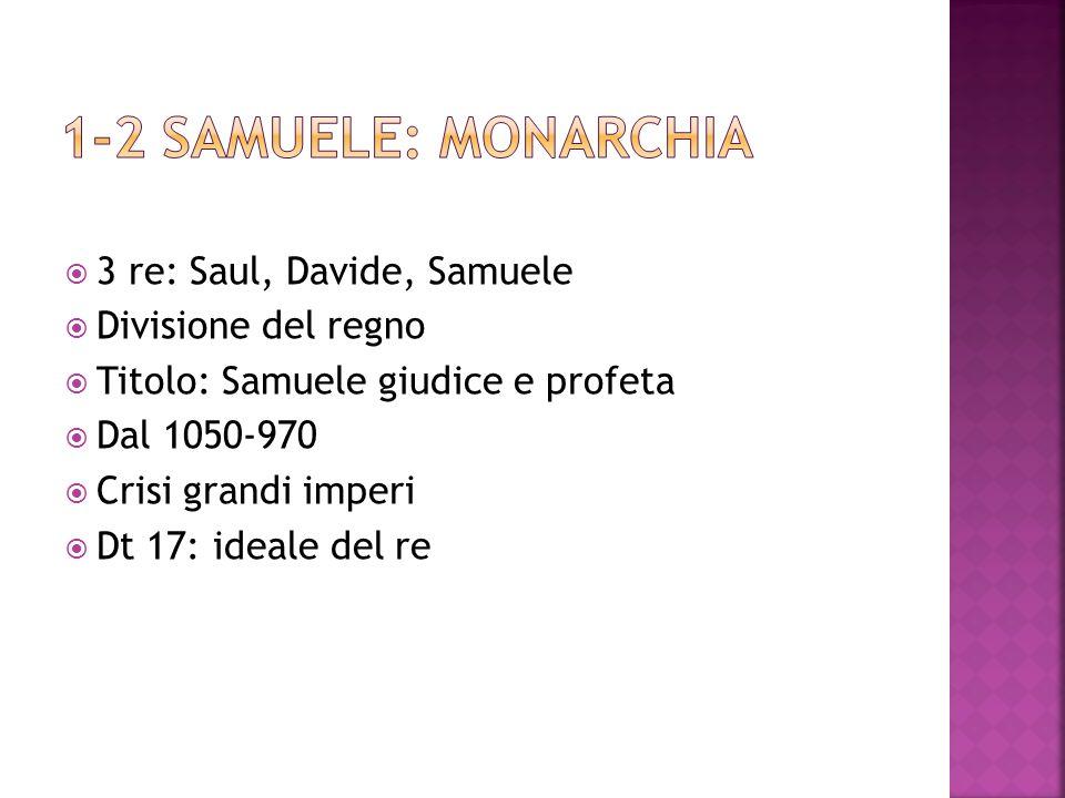 1-2 Samuele: monarchia 3 re: Saul, Davide, Samuele Divisione del regno