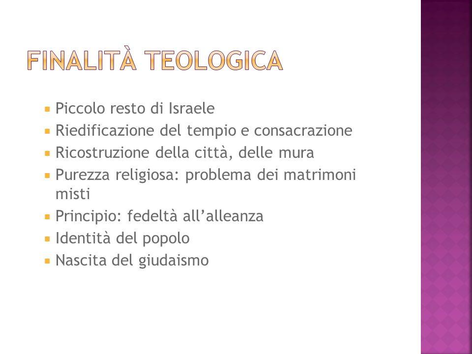 Finalità teologica Piccolo resto di Israele