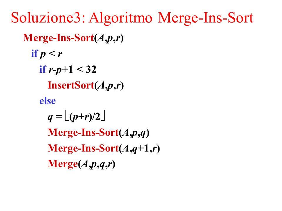 Soluzione3: Algoritmo Merge-Ins-Sort