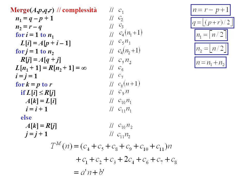 Merge(A,p,q,r) // complessità //