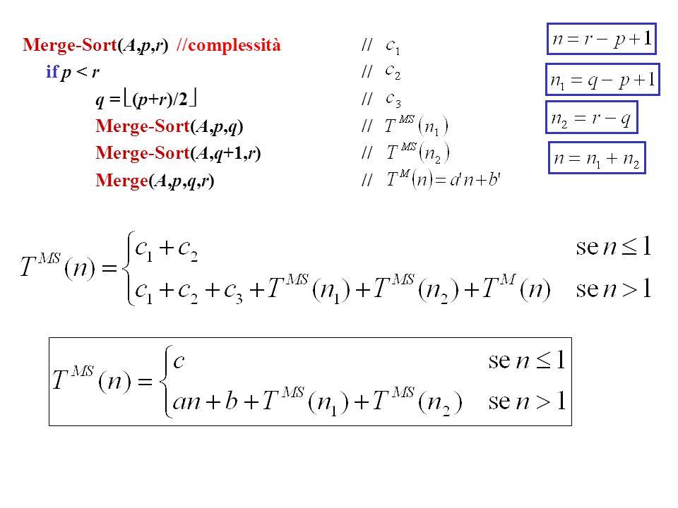 Merge-Sort(A,p,r) //complessità //