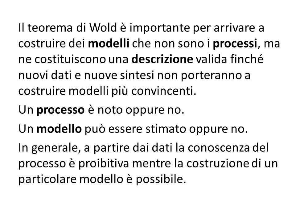 Il teorema di Wold è importante per arrivare a costruire dei modelli che non sono i processi, ma ne costituiscono una descrizione valida finché nuovi dati e nuove sintesi non porteranno a costruire modelli più convincenti.