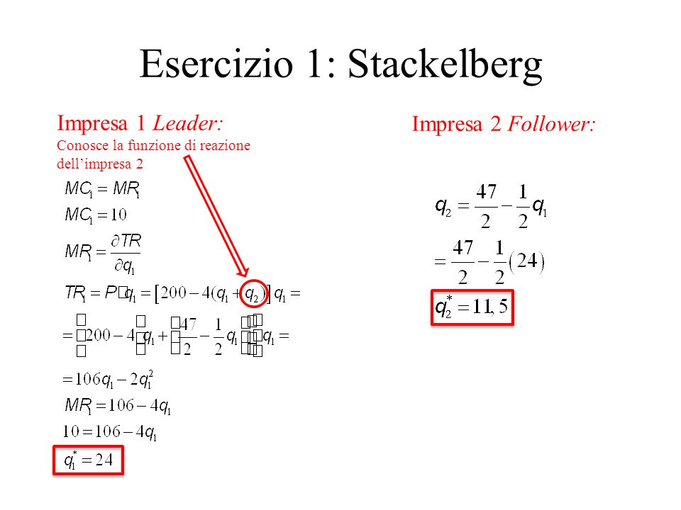 Esercizio 1: Stackelberg