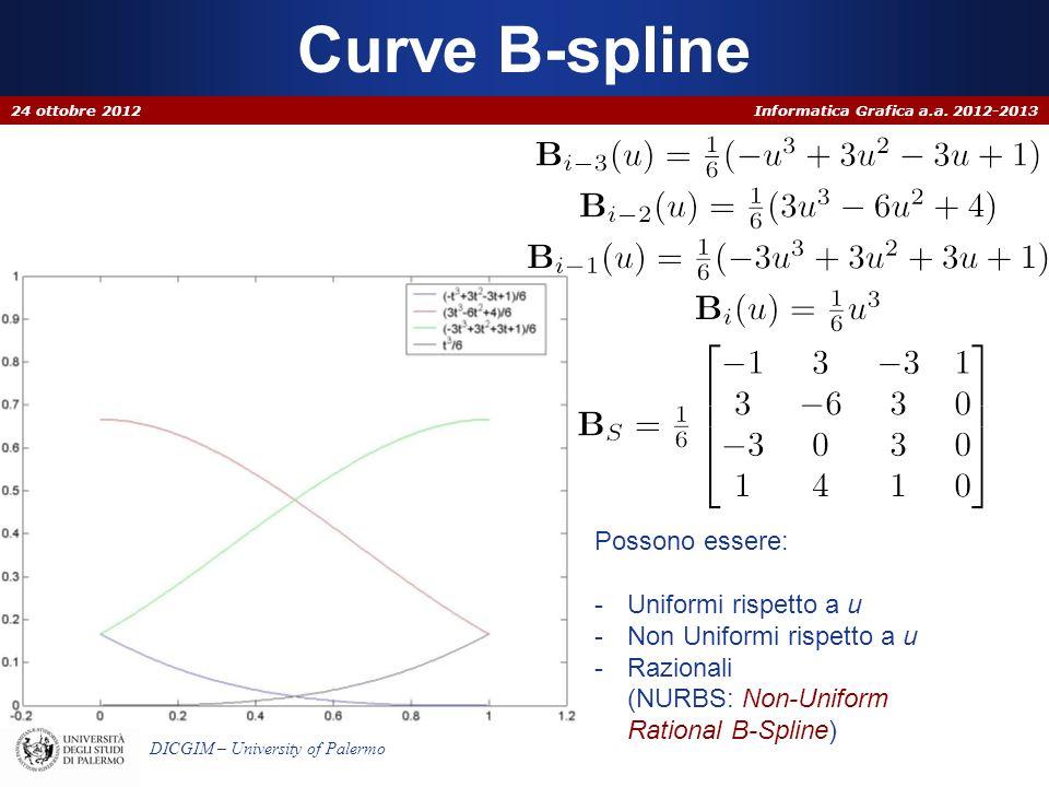 Curve B-spline Possono essere: Uniformi rispetto a u