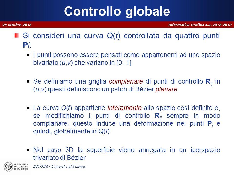Controllo globale 24 ottobre 2012. Si consideri una curva Q(t) controllata da quattro punti Pi: