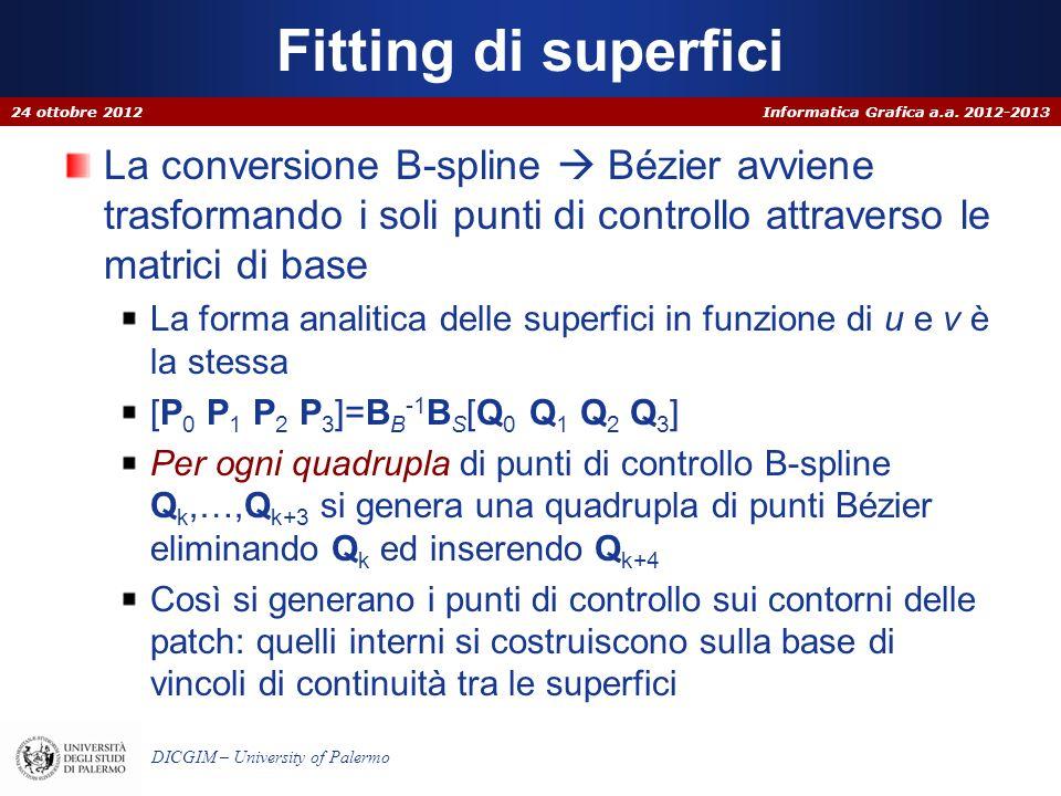 Fitting di superfici 24 ottobre 2012. La conversione B-spline  Bézier avviene trasformando i soli punti di controllo attraverso le matrici di base.
