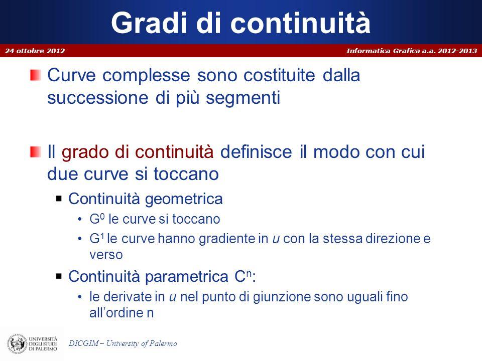Gradi di continuità 24 ottobre 2012. Curve complesse sono costituite dalla successione di più segmenti.