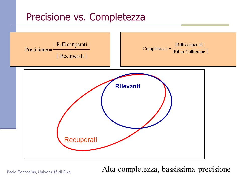 Precisione vs. Completezza